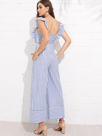 9bba594d89d2 Shop Ruffle Trim Wide Leg Striped Jumpsuit online. SheIn offers Ruffle Trim  Wide Leg Striped Jumpsuit   more to fit your fashionable needs.