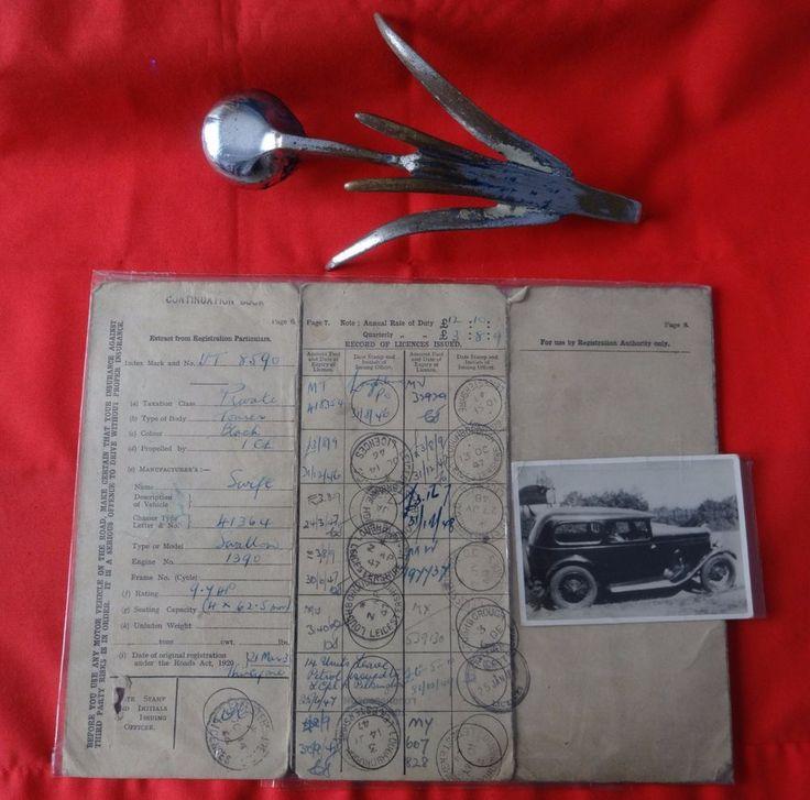 1931 Swift Swallow Vintage Car Bonnet Hood Mascot + LOG BOOK [Regn. No. UT 8590]  | eBay