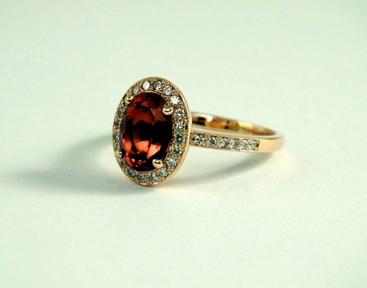 Peach Tourmaline and Diamond Pink Gold Ring