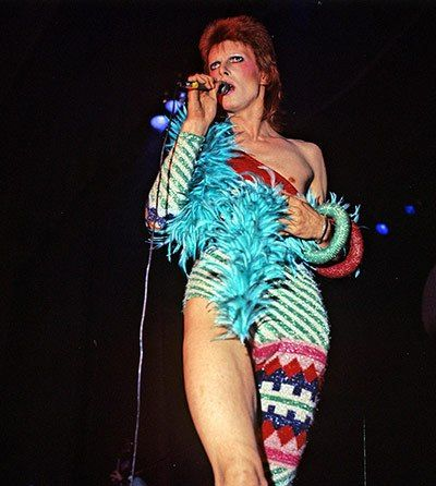 """""""...There he is sinewy as a rubber band as Aladdin Sane and Ziggy Stardust. Looking good in face paint, one-legged unitards and spacesuits? Yes."""" Read more: http://www.aboutawomanaboutagirl.com/david-bowie-me-and-mr-jones/"""