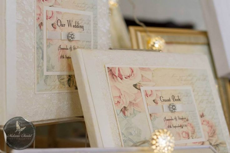 A vintage favourite, the Shabby Rose Guest Book. Delicate lace with a gorgeous rose print, satin ribbons and pearls. Matching stationer including photo albums available