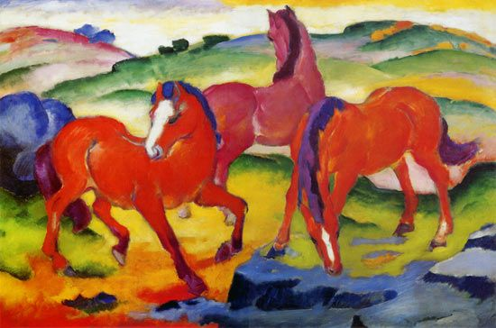 Red horses - Franz Marc as art print or hand painted oil.