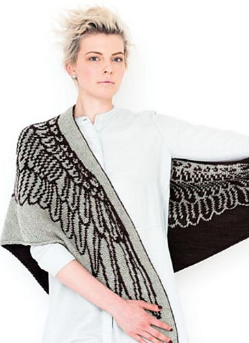 Ravelry: #25 Double Knit Winged Triangle Shawl pattern by Tania Richter. Vogue Knitting Fall 2015