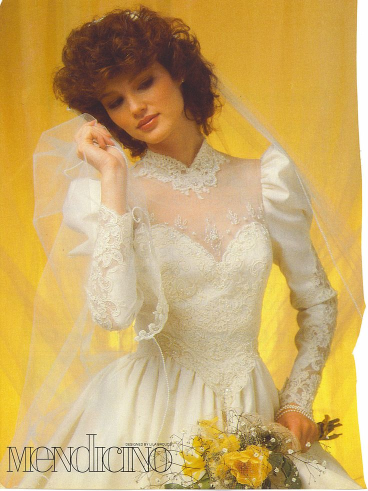 Bride in a 90's vintage wedding gown from a magazine ...