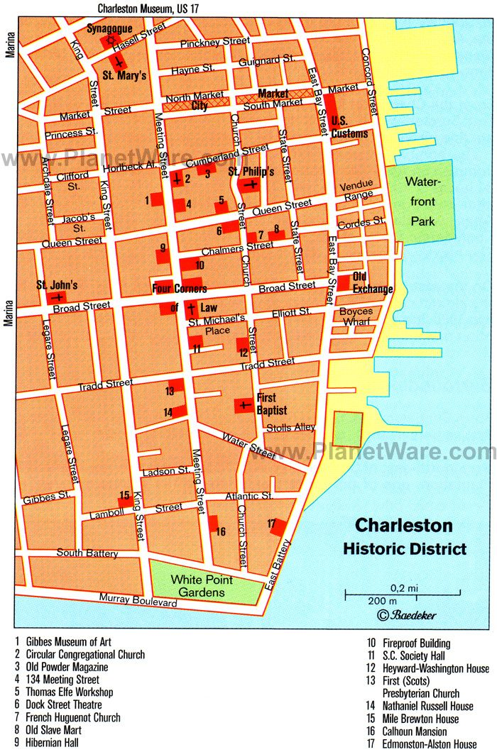 Map of Charleston Attractions | PlanetWare