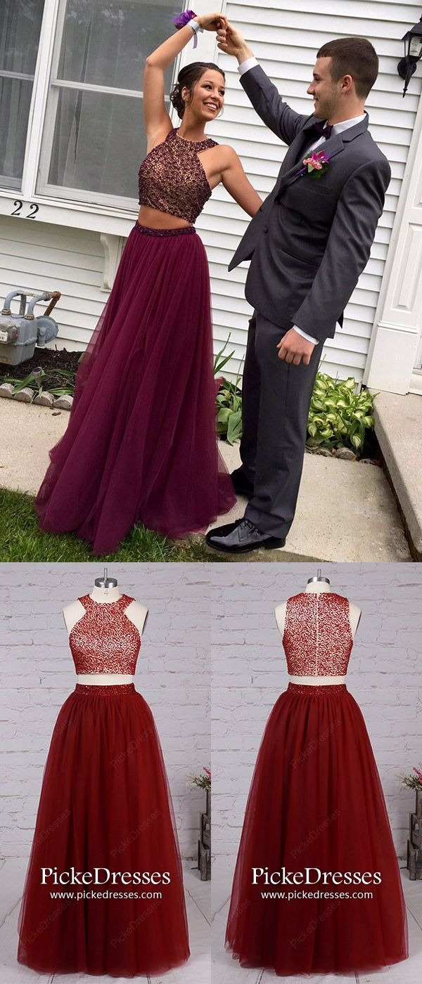 Burgundy prom dresses long two piece formal dresses for teenagers