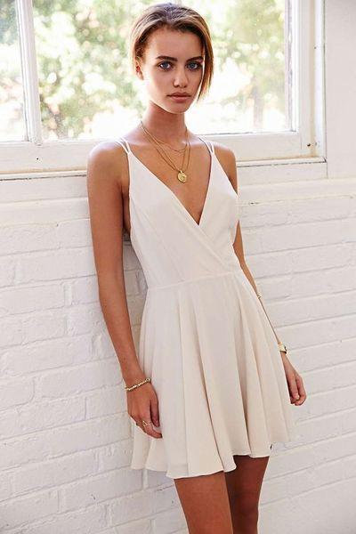 2016 Custom Charming White Chiffon Homecoming Dress,Sexy Spaghetti Straps…