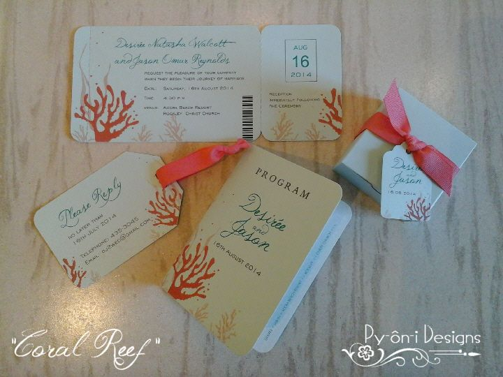 Coral Reef Travel Themed Wedding Stationery Boarding Pass Invitation Luggage Tag Reply Card Passport Styled Program And Custom Made Aqua Shimm
