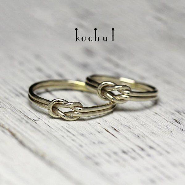 """Обручальные кольца """" Узелок"""". Белое золото"""