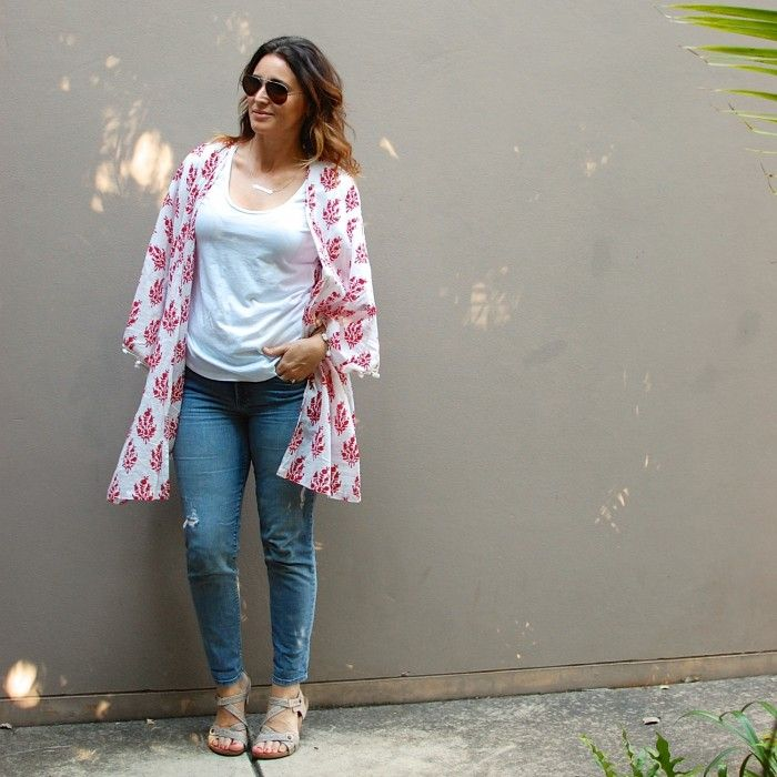 How to wear a Kimono Jacket. Simple is great! White tee with denim.