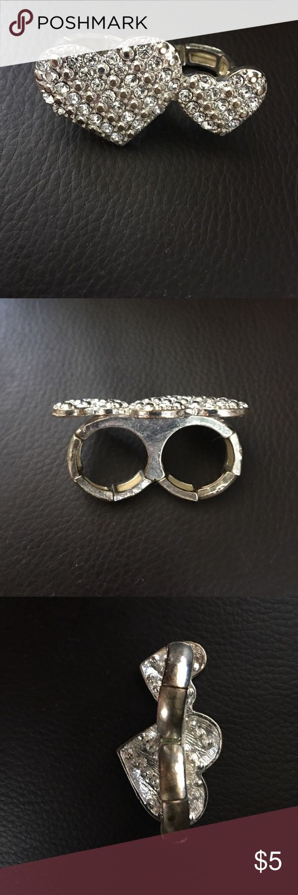 Double heart ring Double ring 💍 with silver hearts well worn scrunchie to fit fingers Apt.9 Jewelry Rings