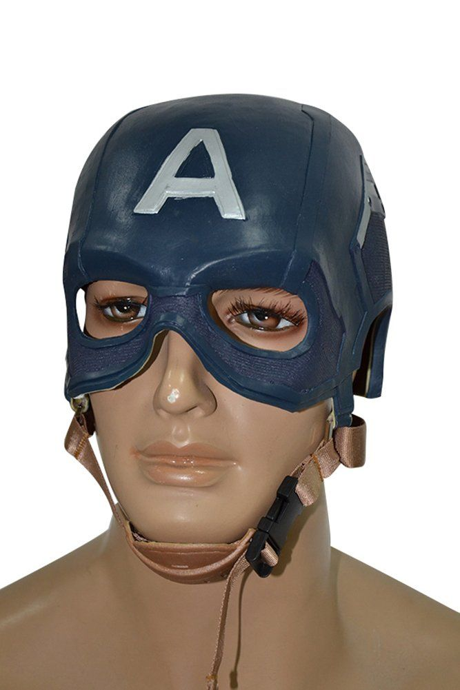 The Avengers Age of Ultron Captain America Helmet by mingL. Material: Latex+EVA. Color:Blue. The mask is adjustable. It is suitable for head girth under 70 cm. Shipping time: Standard: about 7-15 days (ONLY via USPS), generally arrives much earlier than Estimated Delivery Date; Expedited: 3-7 days (via DHL/UPS/FedEx).