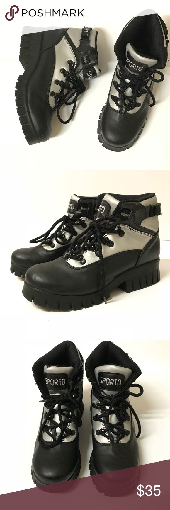 Sporto Boots Women's Sporto black boots with silver reflective material on the top half. Size 9. Shows some wear (see up close photo) but overall great condition! Sporto Shoes Combat & Moto Boots