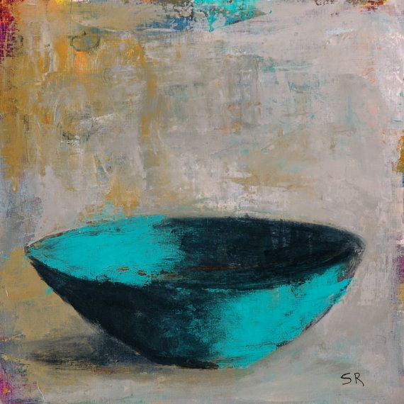Original Still Life Painting Abstract Bowl Unique Kitchen Food Square Acrylic Dining Room Art Mixed Media Ceramic Pottery Zen Drawing on Etsy, $40.00