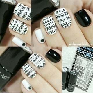 Azteckie ♥ Semilac  001 Strong White, 031 Black Diamond, całopaznokciowe naklejki wodne z Born Pretty Store