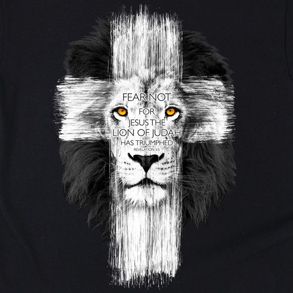"""Christ's triumph was made complete at the Cross! This bold kids/youth size Christian t-shirt features a brush-stroked lion filled cross with the words """"Fear not, for the Lion of Judah has triumphed."""""""
