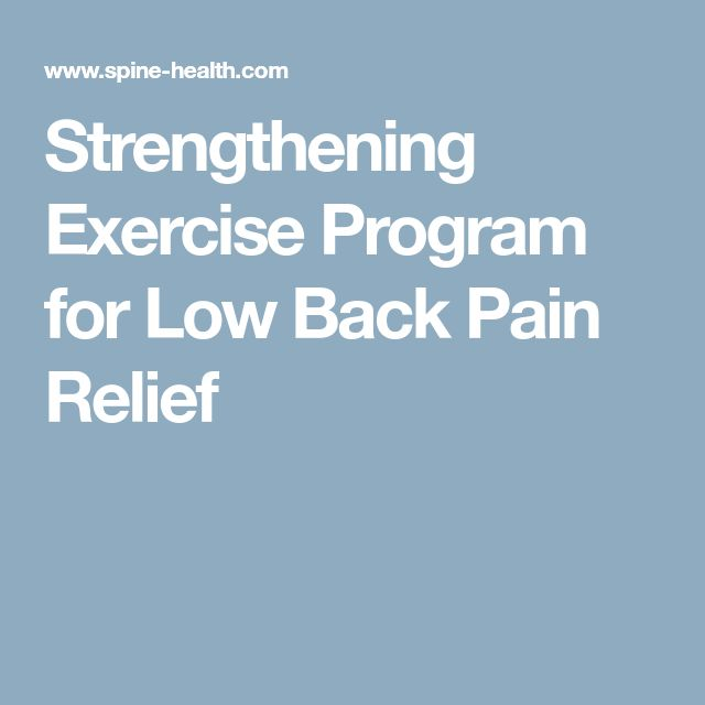 Strengthening Exercise Program for Low Back Pain Relief