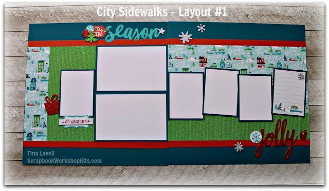 Scrapbooking Kits: City Sidewalks 8 Page Christmas Scrapbook Kit - $29