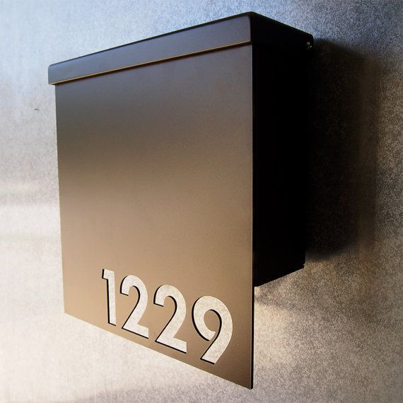 Custom House Number Mailbox No. 1310 Drop Front in Powder Coated Aluminum $279