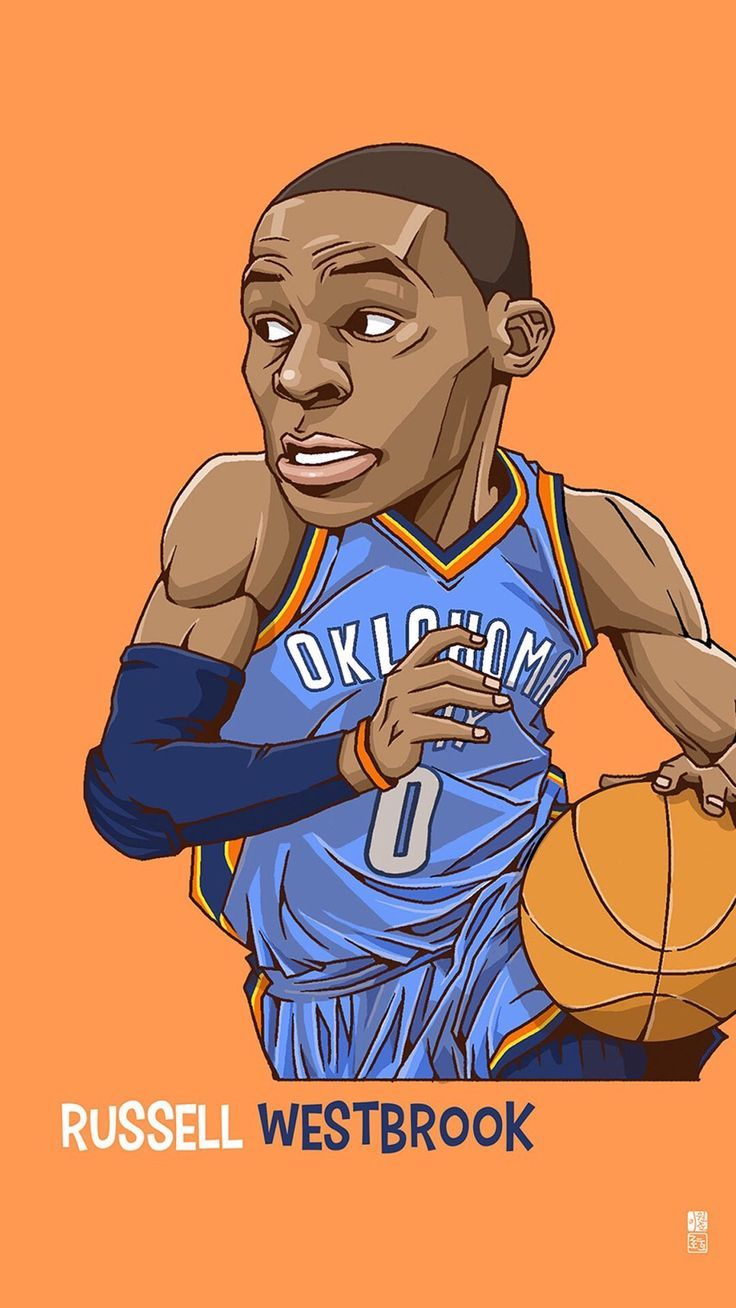 Russell Westbrook. Tap to see Collection of Famous NBA Basketball Players Cute Cartoon Wallpapers for iPhone. - /mobile9/