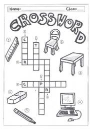 English worksheet: Crossword-classroom objects