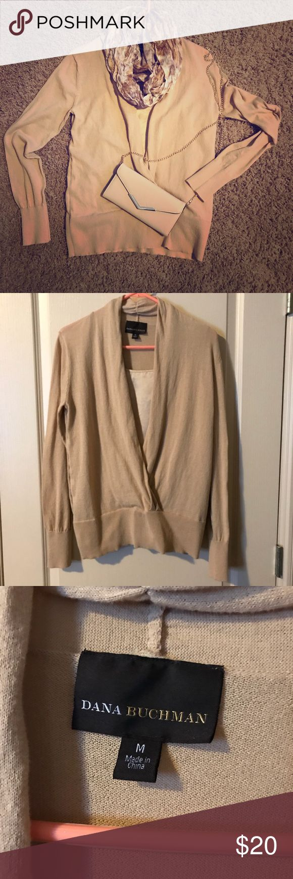Layered look preloved lightweight gold sweater. Vneck sweater with built in gold cami. Great condition. Very mild pilling under arms. No stains or pulls. First pic for styling. Other items available in my closet. Non smoking home Dana Buchman Tops Blouses