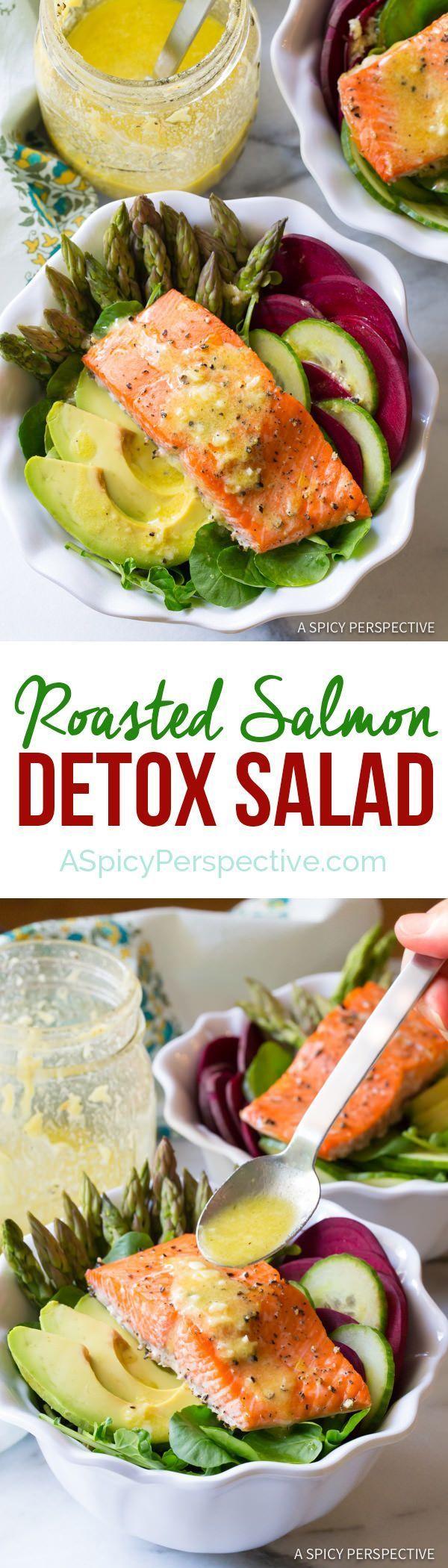 The Best Roasted Salmon Detox Salad Recipe | http://ASpicyPerspective.com