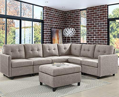 Ouchtek 7 Pieces Modular Sectional Sofas With Ottoman Grey Modern Furniture Linen Fabric Couches For Living Room In 2020 Modular Sectional Sofa Sofas For Small Spaces Couch Fabric
