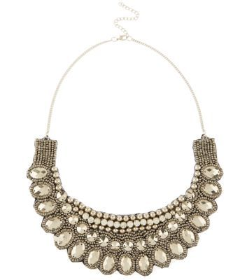 Silver Beaded Bib Necklace