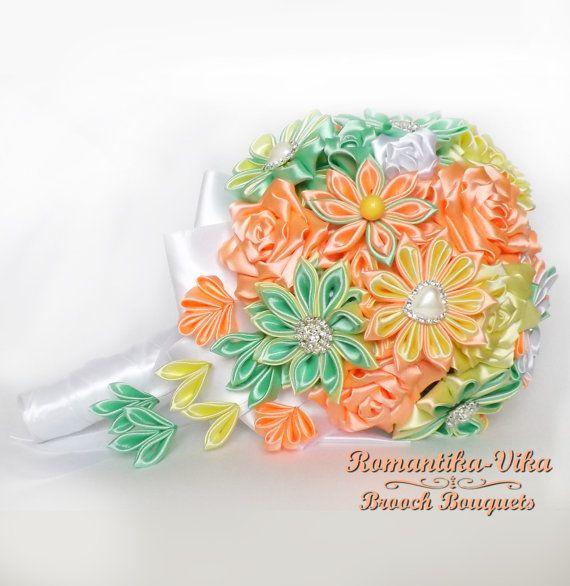Cascading citrus brooch bouquet