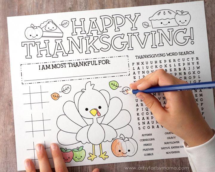 Free Printable Thanksgiving Activity Page at artsyfartsymama.com
