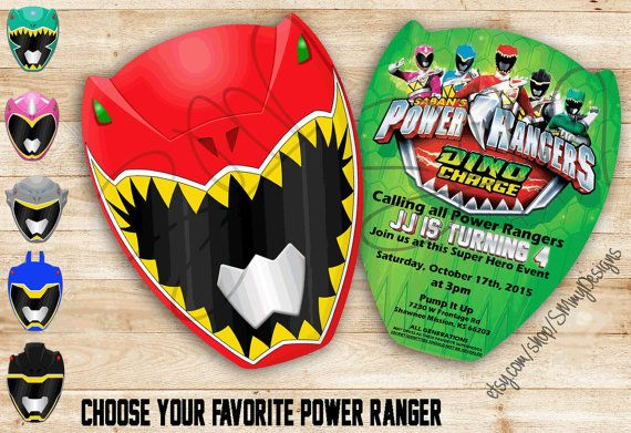 Dino Charge Power Rangers Custom Invitations-Red by SMMyDesigns