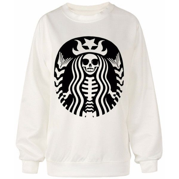 Starbucks skeleton pullover sweater found on Polyvore featuring tops, sweaters, patterned sweaters, hooded sweater, skeleton tops, graphic print sweater and white top