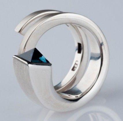 Ring | Saskia Shutt.  Double coil with Petrol Blue Tourmaline