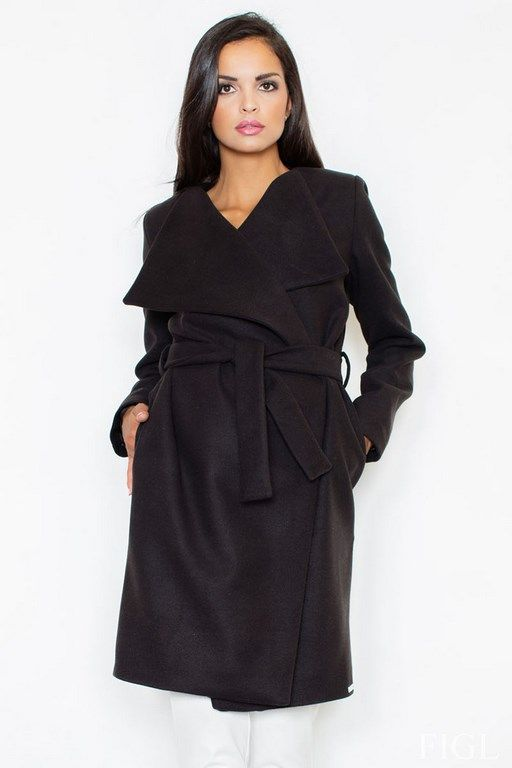Women coat in classic black color