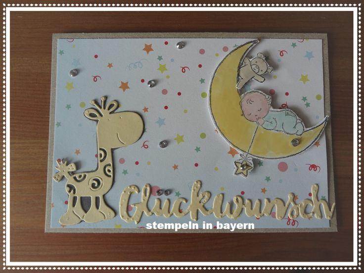 """Babykarte hergestellt mit dem Stempelset """"Moon Baby"""" von Stampin´ UP!"""