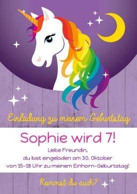 Einladungskarte zum Kindergeburtstag mit buntem Regenbogen-Einhorn