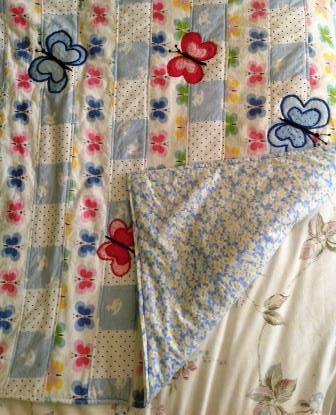 Butterfly quilt.  This shows the backing fabric