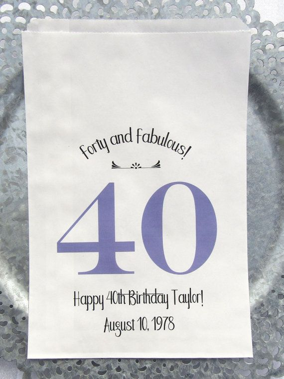 40th Birthday | 40th Birthday Favors | 40th Party Favors | 40th Favor Bags | by Abbey and Izzie Designs