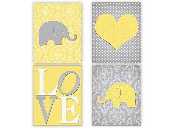 Elephant Nursery, Yellow Gray Print Set, Set of 4, Yellow Grey Nursery, Elephant Nursery Decor, Elephant Nursery 8x10 on Etsy, $40.00