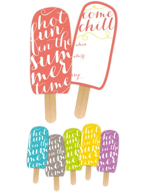 DIY Free Invitations: Popsicles Invitations, Printable Invitations, Popsicles Parts, Parties Printable, Summer Parties, Free Popsicles, Parties Ideas, Free Printable, Parties Invitations