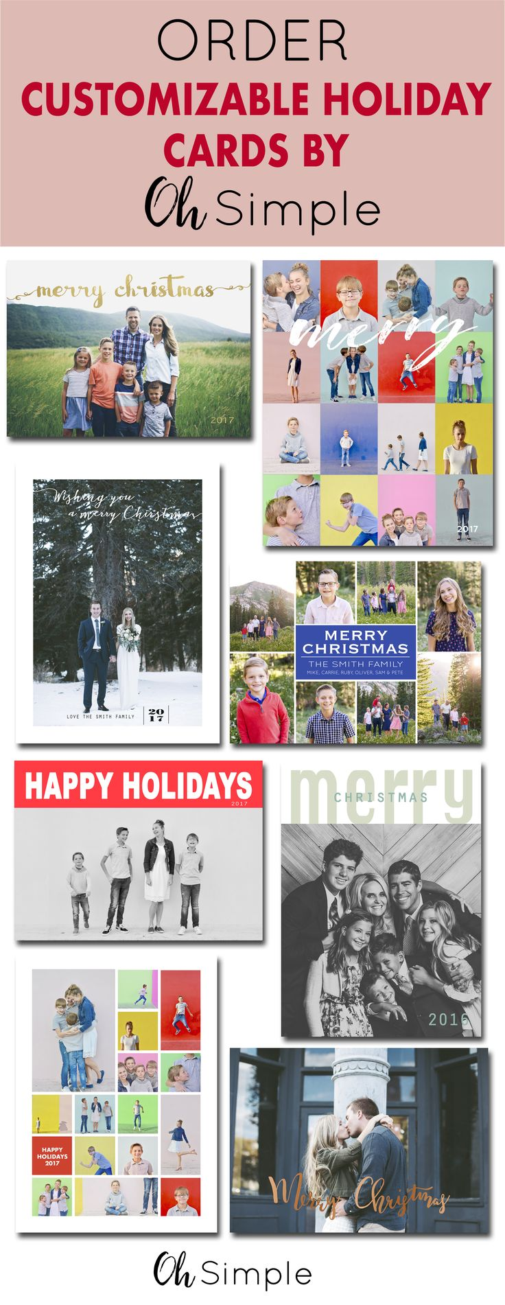 Customize your holiday card this year through Oh Simple.  Choose your color, choose your own greeting, add a note to friends and family, write a summary of your year.  Christmas cards | holiday cards