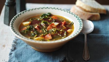 chorizo soup http://www.bbcgoodfood.com/recipes/3020698/red-lentil-and-chorizo-soup  http://www.bbc.co.uk/food/recipes/caldoverdeportuguese_73565