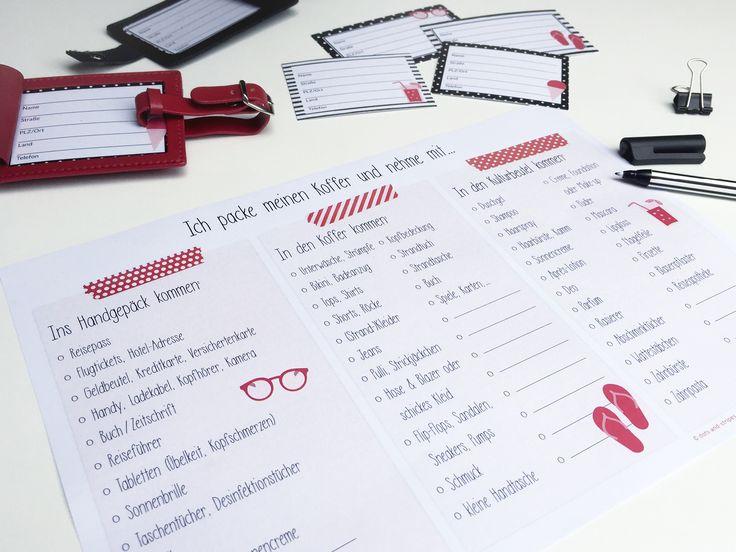 FREEBIE: Packliste zum Downloaden & Ausdrucken! FREEBIE: Packliste, Urlaub, Sommer, Koffer