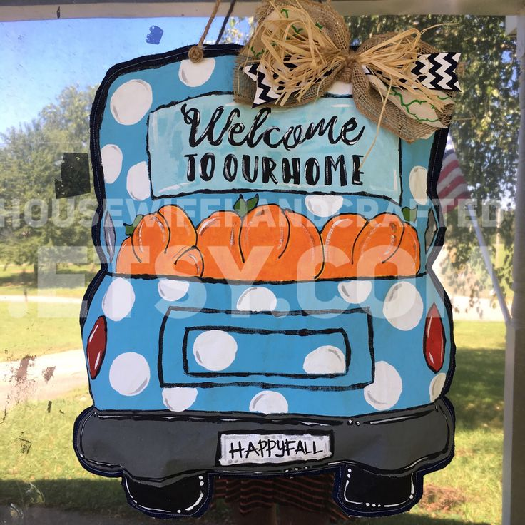 Fall Door Hanger,Fall Door Decor,Pumpkin Door Hanger,Painted Door Hangers,Happy Fall Yall Pumpkin Sign,Happy Fall Yall Sign,Truck Door Hange by HousewifeHandcrafted on Etsy https://www.etsy.com/listing/540162579/fall-door-hangerfall-door-decorpumpkin