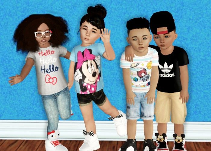 Gift pack shirts and sneakers for kids by sincerelyasimblr - Sims 3 Downloads CC Caboodle