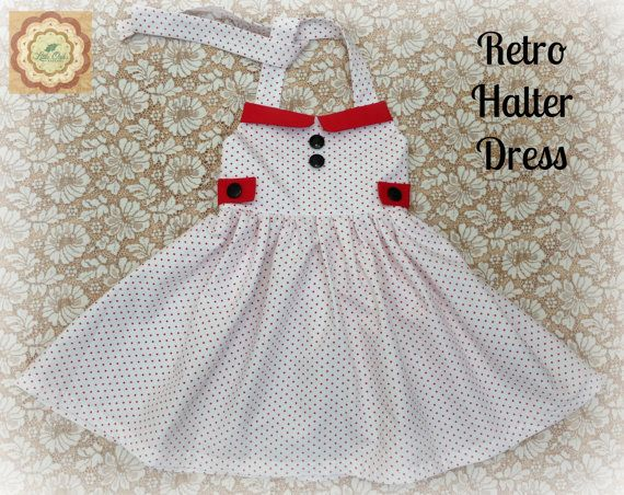 Size 3 Girls Rockabilly Polka Dot Red Collar by LittleOakApparel