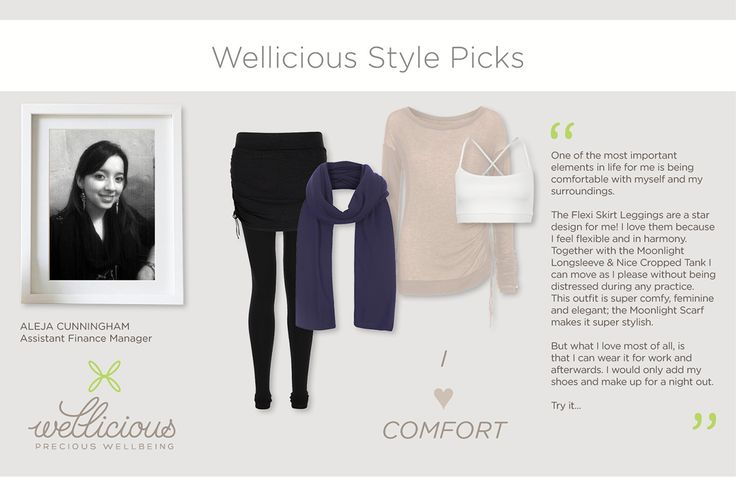 Check out the favourite looks of our Assistant Finance Manager Aleja! I <3 comfort  http://www.wellicious.com/wellicious-nice-cropped-tank-1.html http://www.wellicious.com/moonlight-longsleeve.html http://www.wellicious.com/flexi-skirt-leggings.html http://www.wellicious.com/accessories/moonlight-scarf.html