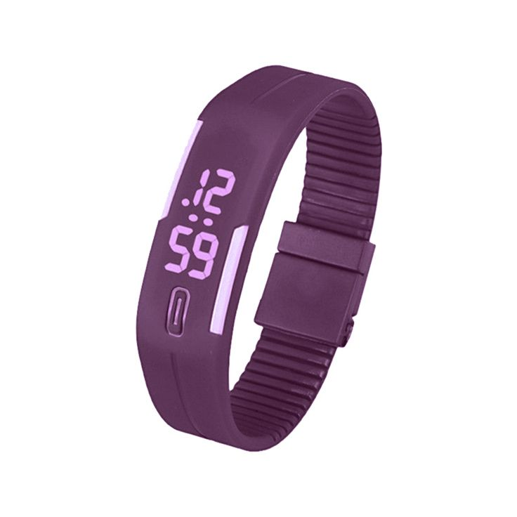 >> Click to Buy << Sports Silicone Rubber White LED Digital Watch Bracelet Men Women Purple #Affiliate