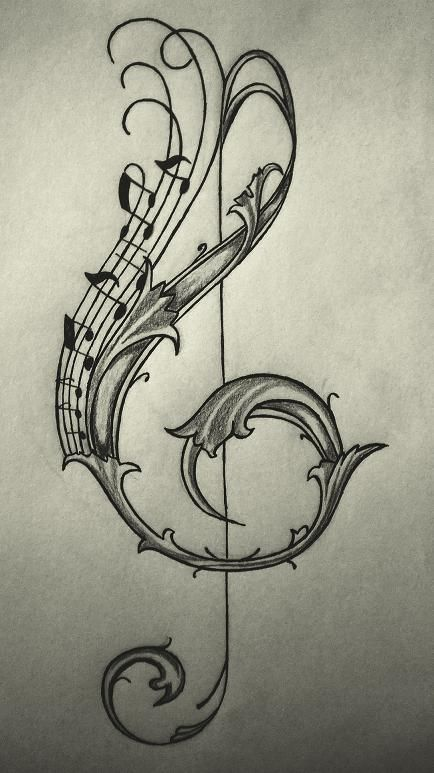 Violin Key Tattoo Design by Enchantedbluerose